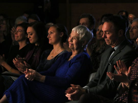 "Joe Crowley's wife Joy, middle, reacts during the campus memorial service in honor of Emeritus President Joe Crowley in the Joe Crowley Student Union on the campus of the University of Nevada, Reno on Jan. 6, 2018. The service was called ""Just Call Me Joe: Stories in Celebration of the Life of Joe Crowley."""