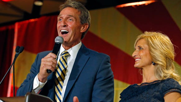 Sen. Jeff Flake, R-Ariz., shown here with his wife,