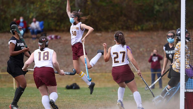 Lindsey Reimels of Tiverton reacts after scoring a goal Saturday in a 3-1 win over Pilgrim.