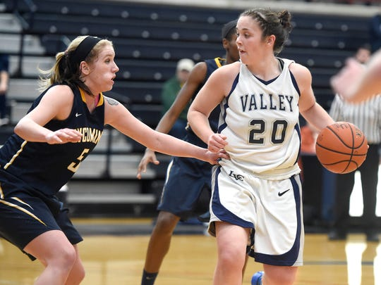 Lebanon Valley's Bridget Rothert looks for room against Lycoming's defense on Saturday afternoon.