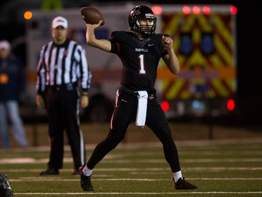 Maryville quarterback Dylan Hopkins (1) passes the