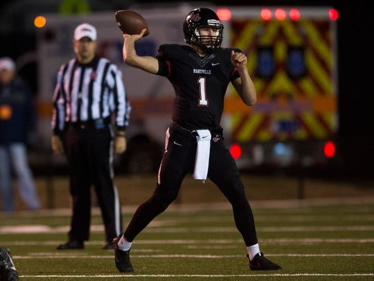 Maryville quarterback Dylan Hopkins (1) passes the ball during a high school football game between Maryville and Farragut on Friday, Nov. 10, 2017.