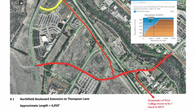 This rendering from the Murfreesboro 2040 Major Thoroughfare Plan shows how the city seeks to extend Northfield Boulevard (red line in east-west direction) from Broad Street to Thompson Lane. The Murfreesboro Planning Commission adopted the road plans Wednesday night (Nov. 8, 2017).