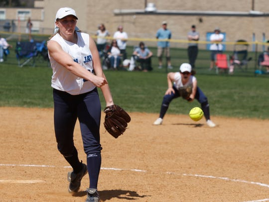John Jay pitcher Ally Muller delivers a pitch during their 3-0 win over Yorktown in Hopewell Junction on April 11.