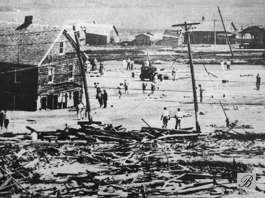 Storm damage in the area of the present day Ocean City Inlet.