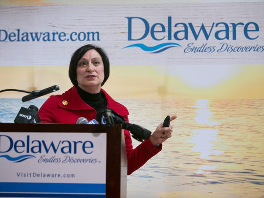 Delaware Tourism Director Linda Parkowski speaks at