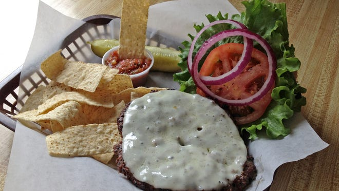The Mathew Burger at Main Street Cafe in Hurricane includes avocado and melted provolone.