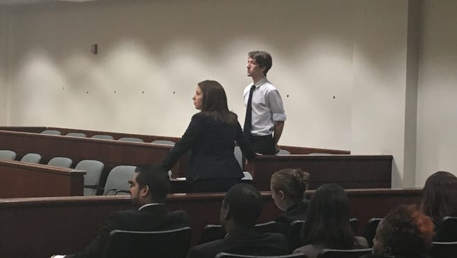 This file photo from November 2017 shows Brian Conroy during his arraignment in Riverside County Superior Court. He's accused of killing his mother, Amber Lane, and he was supposed to be arraigned again on Tuesday after being ordered to stand trial earlier this month.