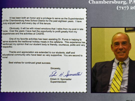 A photo from a 2008 Chambersburg High School yearbook features former superintendent Dr. Ed Sponseller.