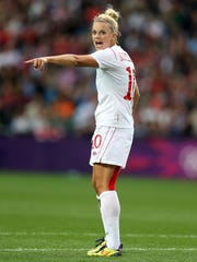 Lauren Sesselmann shouts instructions during a women's soccer quarterfinal match between Great Britain and Canada during the 2012 London Olympic Games.