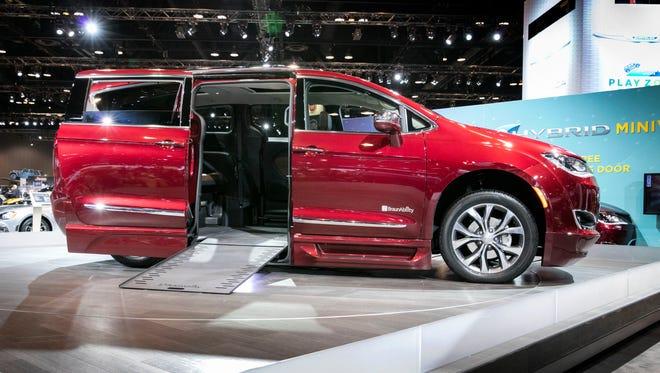 The Chrysler Pacifica / Braun Automobility partnership displayed a customizable Chrysler Pacifica for handicapped drivers at the Chicago Auto Show Feb. 9, 2017.  Chrysler created the Automobility Program to provide vehicles to help handicapped drivers get in and get going.
