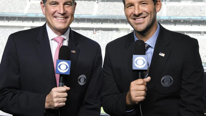 CBS Sports' lead NFL broadcast team of Jim Nantz and Tony Romo won't work an NFL game Sunday because of the Masters golf tournament. Nantz is welcoming friends elsewhere.