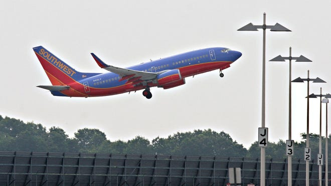 A Southwest Airlines plane takes off from T.F. Green Airport in Warwick in 2005.