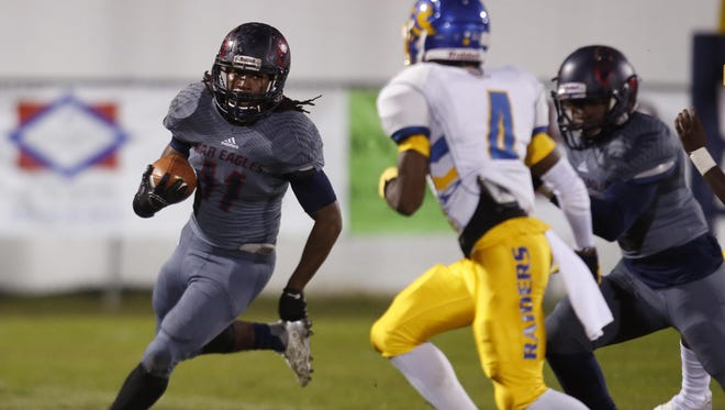 Wakulla's Demarcus Lindsey runs for a large gain against Rickards on Friday night in Crawfordville. Lindsey rushed for 143 yards in a 34-19 win, including a 67-yard scamper in the second quarter.