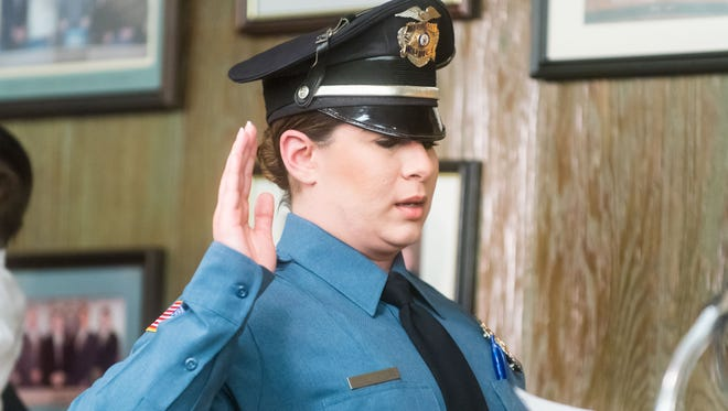 Sergeant Jennifer Saterois sworn into her promotion at Millville City Hall on Tuesday, March 21.