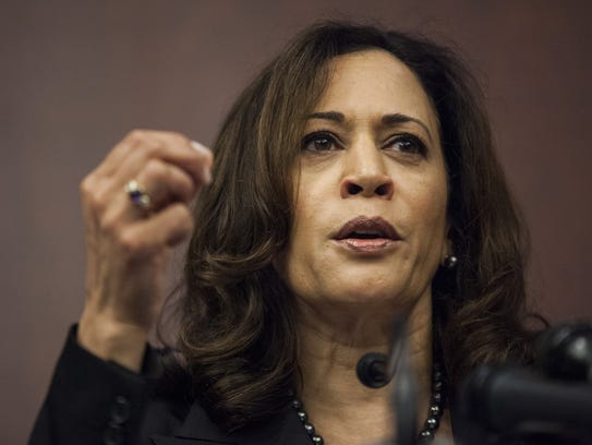Sen. Kamala Harris, D-Calif. speaks during a news conference