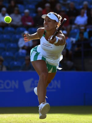 Angelique Kerber of Germany hits a forehand June 29 during the ladies singles quarter final match against Johanna Konta of Great Britain on day five of the Aegon International Eastbourne at Devonshire Park Lawn Tennis Club in Eastbourne, England.