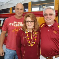 Jon Kurth of Johnston (from left), Sue Gruber and Jim Gruber of Pleasant Hill, Saturday, Oct. 1, 2016, while tailgating before the Iowa State University game against Baylor in Ames.