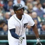 Detroit Tigers' Justin Upton doubles against the Toronto Blue Jays on Tuesday, June 7, 2016 at Comerica Park in Detroit.