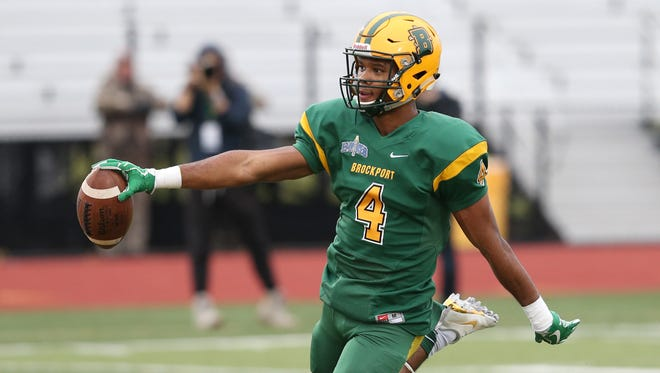 Brockport's wide receiver Jerry Thompson runs in for a touchdown in the second quarter giving Brockport a 16-0 lead over Plymouth State during their NCAA Division III Football Championship first round playoff game Saturday, Nov. 18, 2017 at the College at Brockport.  Brockport won 66-0.