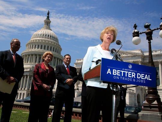 Sen. Tammy Baldwin speaks on Capitol Hill on Aug. 2,