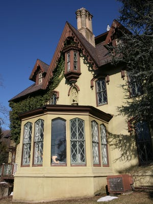 The exterior of the historic Boulderberg Manor in Tomkins Cove. The c.1858 Hudson River Gothic Revival is on the market.