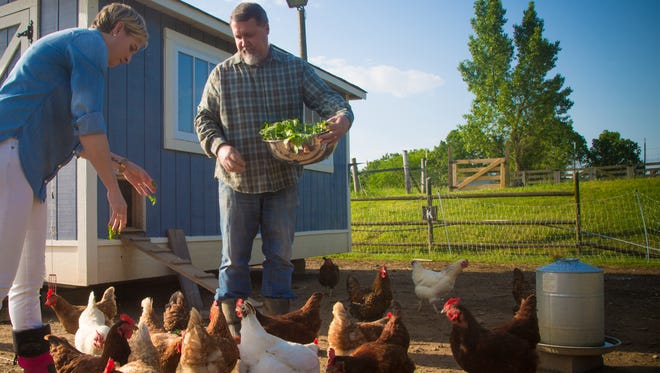Daryl and Kelsey Walny grow vegetables and raise chickens on their 1-acre farm in Primm Springs.