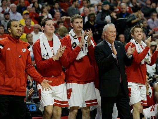 Wisconsin head coach Bo Ryan watches the action from