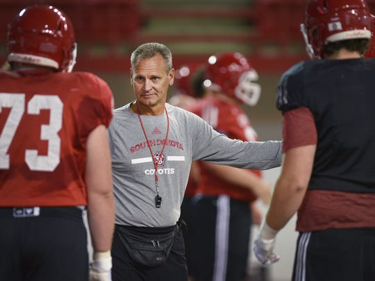 USD head coach Bob Nielson during practice after media day Thursday, Aug 9, at the DakotaDome in Vermillion.
