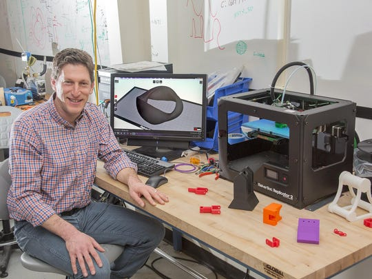 In the lab with the 3-D printer, the MakerBot Replicator, is Andrew Zwicker, head of science education at the Princeton Plasma Physics Lab in Princeton. Zwicker said they are using the 3-D printer primarily to make replacement parts for their scientific equipment.