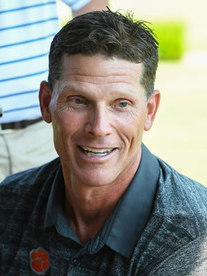 Clemson defensive coordinator Brent Venables answers questions from the media during the annual Dabo Swinney Media Golf Outing on Tuesday, July 18, 2017 at The Reserve at Lake Keowee.