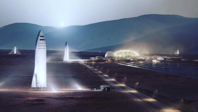 Artist rendering of SpaceX spaceships at a settlement on Mars.