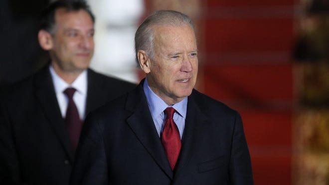 U.S. Vice President Joe Biden arrives at Borispol airport outside Kiev, Ukraine on Monday.