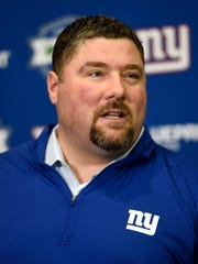 New York Giants defensive coordinator James Bettcher speaks to the media in the training center in East Rutherford, NJ on Wednesday, April 4, 2018.