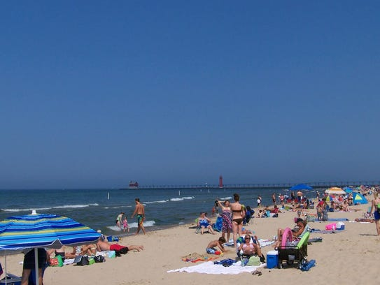 The beach at Michigan's Grand Haven State Park.