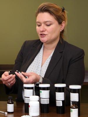 Dr. Laura Bultman, chief medical officer of Vireo Health, talks about the different forms of medical marijuana offered at Vireo Health of New York, a dispensary in White Plains, during a media tour Jan. 5, 2016.