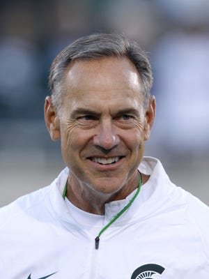 Michigan State coach Mark Dantonio is seen before the start of an NCAA college football game against Oregon, Saturday, Sept. 12, 2015, in East Lansing, Mich. Michigan State won 31-28. (AP Photo/Al Goldis)