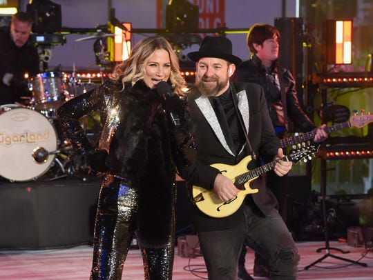 Sugarland performs at the Dick Clark's New Year's Rockin' Eve with Ryan Seacrest 2018 on Dec. 31, 2017 in New York City. The duo will bring their award-winning country act to the Pensacola Bay Center on Thursday.
