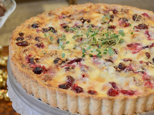 Walnut and Blue Cheese Tart with Cranberries is pretty enough to serve as an edible buffet centerpiece.