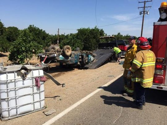 A semi-trailer truck collided with a pickup truck on