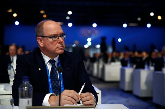 Prince Albert II of Monaco participates in the 132nd IOC Session prior to the 2018 Iciness Olympics in Pyeongchang, South Korea, Tuesday, Feb. 6, 2018. (AP Photo/Patrick Semansky)