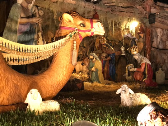 A life-size nativity located on Willowbrook Drive brings