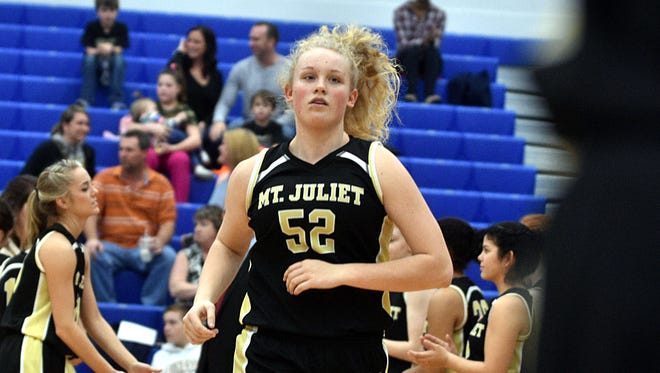 Mt. Juliet's Emma Palmer is introduced prior to Saturday's District 9-AAA Tournament semifinals against Station Camp.