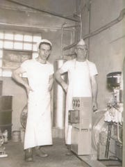 Francis (left) and Frank Baker at the Baker Cheese factory in 1953.