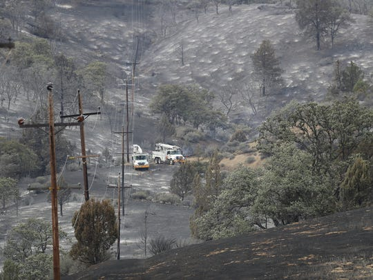 The Klamathon Fire leaves a burned landscape north of Hornbrook near the California-Oregon border.