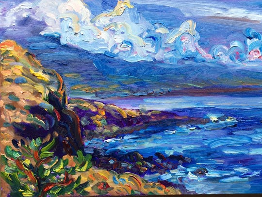 """Maalea Bay"" by Julie Bowland is a new painting included"