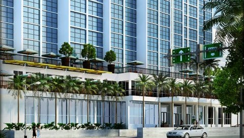 Rendering of the street view of the future remodeled Amtel Hotel