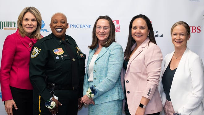 The 2020 Emerald Awards Gala honorees are, from left, Sarah A. Alsofrom, Lt. Patricia R. Brown, Meredith Trim, Michelle Oyola McGovern and Chef Lindsay Autry.