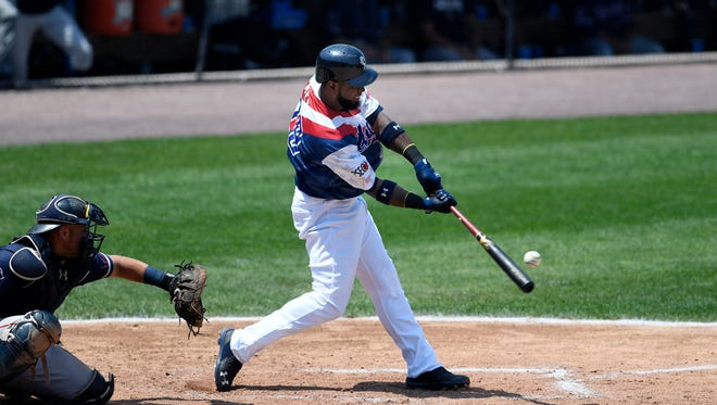 Melky Mesa, seen here in a file photo, had three homers and six RBIs on Sunday in the York Revolution's 19-1 win over New Britain.