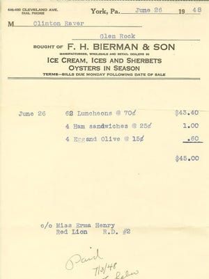 Bierman's is a well-known former York County restaurant. This is a receipt from the wedding reception of Erma (Henry) Raver and Clinton Raver catered by the former Bierman's.